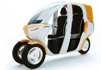 Разработан концепт электрического трехколесного скутера Fluidi.